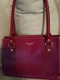 Purse, leather, red
