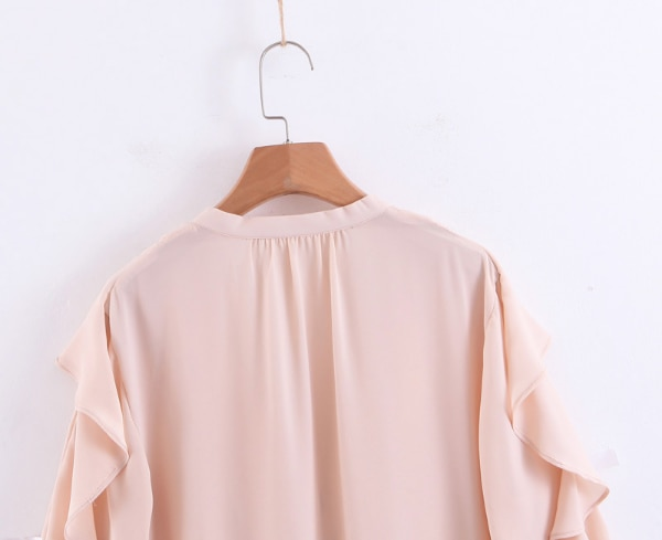 BOOPDO DESIGN V NECK OCEAN WHITENING RUFFLED SHIRT IN PINK 98500705-084c-4f6b-a164-539d0205f970
