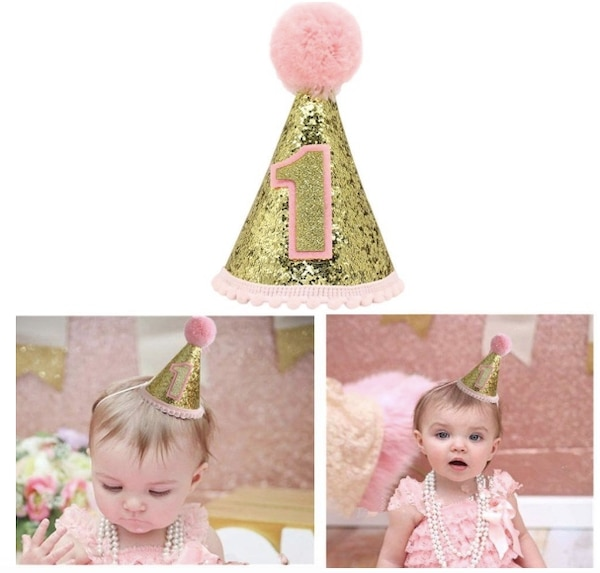 Brand New Seal In Box Gold Glitter Sparkle Princess 1st Birthday Cone Hat With Adjustable Headband
