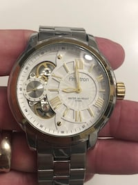 round silver-colored chronograph watch with link bracelet Allendale, 07446