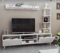 flat screen TV and white wooden TV stand Cavan-Millbrook-North Monaghan, L0A 1G0