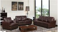 New Brown Leather Couch, Love and Chair Set