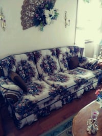 Brown and tan floral fabric sofa and chair Church Hill, 37642