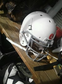 white and gray football helmet