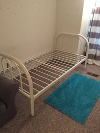 white metal bed frame with blue mattress Gaithersburg, 20879
