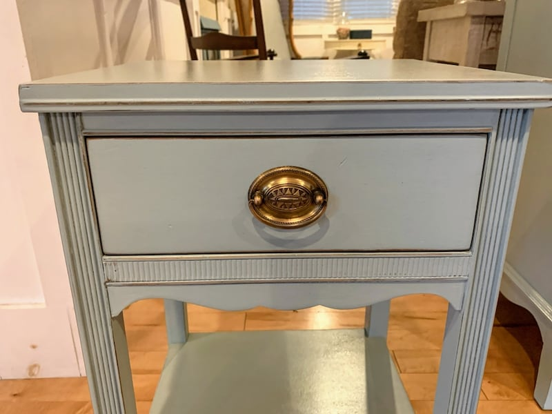 Nightstand : Vintage Blue Farmhouse Mahogany Nightstand 7