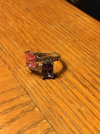 Silver ring with purple and pink gemstones PRINCEFREDERICK