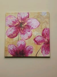 24 x 24 pink and brown flowers painting Montréal, H9J 3R2