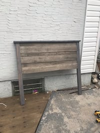 Grey headboard and footboard made from recycled wood. Free delivery in Calgary  Calgary, T2B 2C5