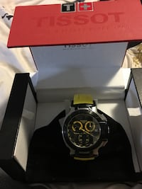Round black and yellow tissot chronograph watch with yellow band and box Kitchener, N2P