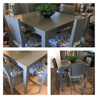 Gray pub table with newly recovered chairs