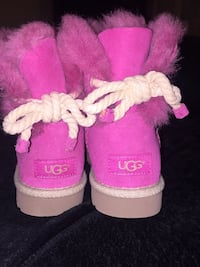 pair of pink Ugg Bailey 1-bow boots