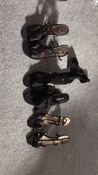 3 pair of black open toe dress shoes. The pair in the middle are size 7, other two pair are size 6 1/2   Waldorf, 20601