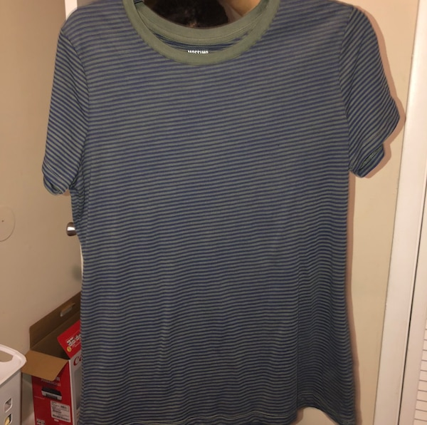 blue and white striped scoop-neck shirt
