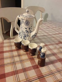 white and blue floral tea pot and 3 tea cup and 2 condiment shaker Temple Hills