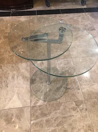 Glass and chrome swivel side table