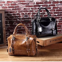 two brown and black leather tote bags Hong Kong