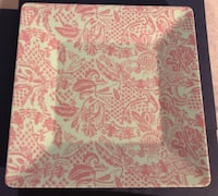 "3 Pieces Square Pink Design Party Platters (2-10"" & 1-8"") Lancaster"