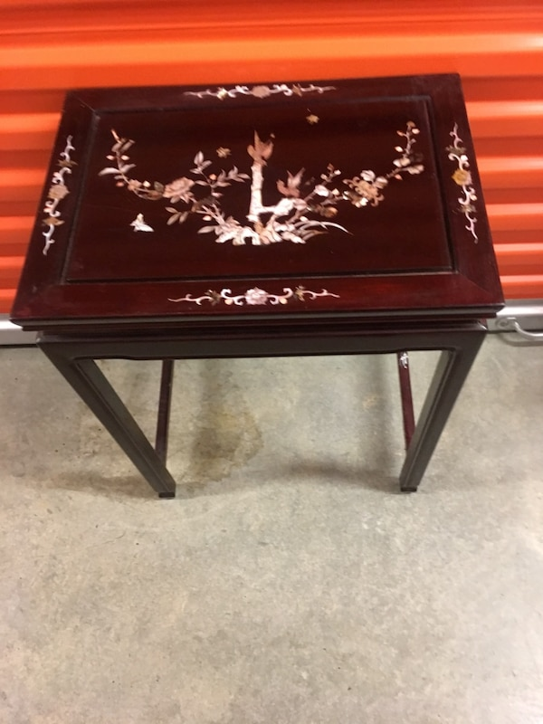 Chinese stacking tables Mother of Pearl, Rosewood. The price is firm . Large 22 inches high, 17 inches wide, medium table 18 inches high, 14 1/2 inches wide, small table 14 inches high, 11 1/2 wide . 271b8e4f-e0f2-4e5a-8510-bd06cad3b011