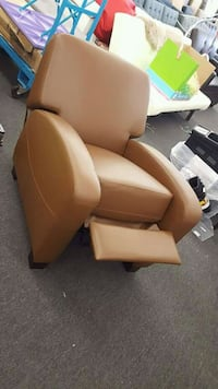 brown leather padded sofa chair Houston, 77092