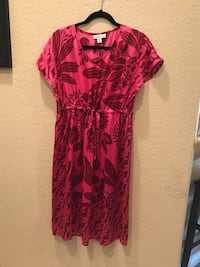 Cold WaterCreek Red  floral scoop-neck dress size 10/12 Indio, 92201