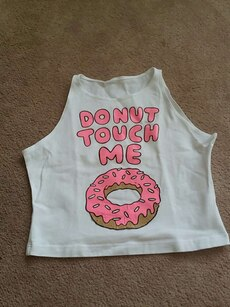 """Donut touch me"" Crop Top"