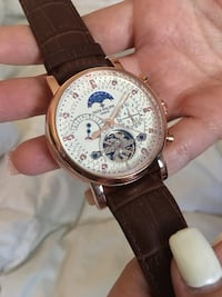 Round gold-colored chronograph watch with brown leather strap Mountain View, 94040