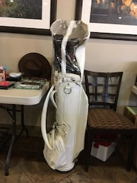 White and black leather golf bag