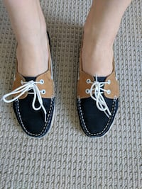 Leather boat shoes ( foldable navy + beige 250mm) Vancouver, v5x 0c5