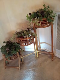 ANTIQUE/Collector/Vintage Bamboo Rattan 3 Tier FOLDABLE Stand - RARE Houston, 77095