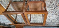 two brown wooden framed glass top tables HARTFORD