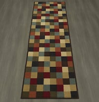 Contemporary Multi-Colored Checkered Rug Runner