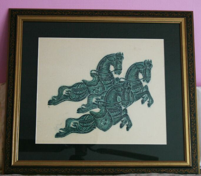 Authentic 1960s Thai Temple Rubbing Vivid Green Framed 3 Leaping Horses Abundance  0