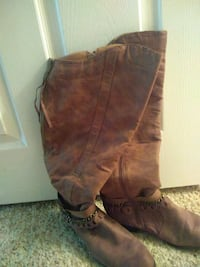 pair of brown leather knee-high boots Owasso