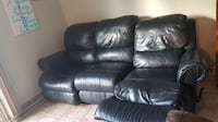BLACK LEATHER SOFA WITH MANUAL RECLINE null