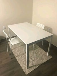 rectangular white wooden table with four chairs dining set Largo, 33773