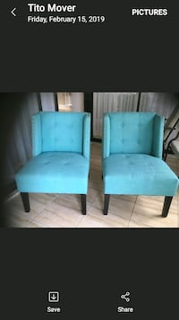 two blue leather tufted sofa chairs Tampa, 33634