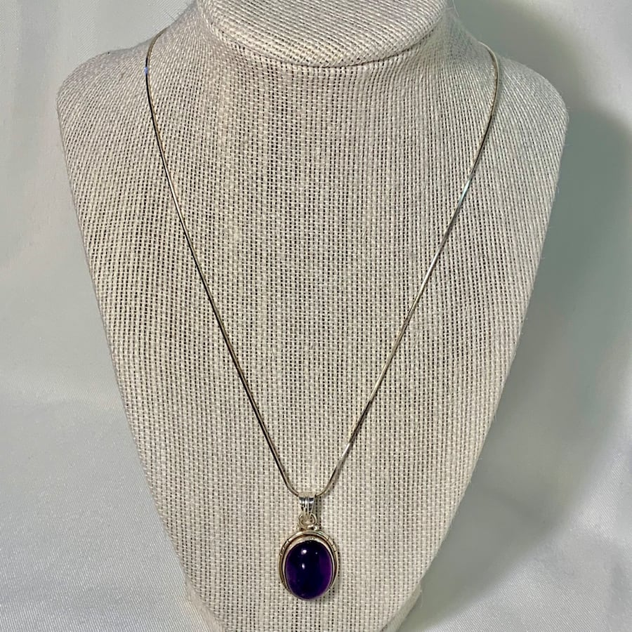 Genuine Sterling Silver Amethyst Pendant with Sterling Rope Chain 9fd0a5f4-d108-473e-8d9b-8dd43cc5c5d6