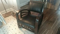 Wood & Leather Side Arm Chair