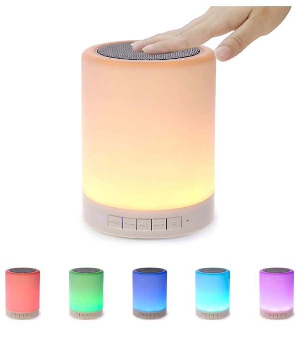 Night Light Bluetooth Speaker, Portable Wireless Bluetooth Speakers, Touch Control, Color LED Speaker, Bedside Table Light, Speakerphone/TF Card/AUX-in Supported (White), 7 cd4ea28f-05e7-4cb9-8305-d7d16c47c596