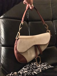 gray and brown hobo bag