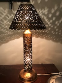 Hand carved copper lamp shade good as Christmas gift