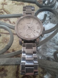 round silver chronograph watch with link bracelet Clyde, 79510