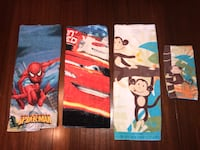 Kid Bath Towels, Cars, Spider-Man, and monkeys (one hand towel too) Colorado Springs, 80907