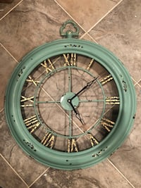 """NEW 26"""" Turquoise/Gold Clock"""