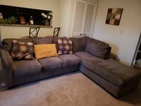 brown suede sectional couch with throw pillows Boca Raton, 33496