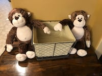 Pair of build a bear monkeys & burlap lined bin Katy, 77450