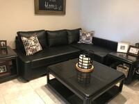 Black leather sectional sofa with ottoman Miami, 33196