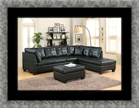 Black sectional with ottoman Largo, 20774