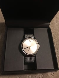 Round silver-colored analog watch with link bracelet 251 mi